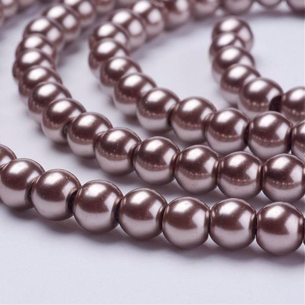 1 Strang Glaswachsperlen rund glänzend dunkelgrau (ca. 140 Perlen / ca. 82 cm Länge)