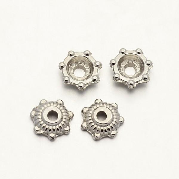 20 zierliche Perlkappen platinfarben 5,5 x 2 mm
