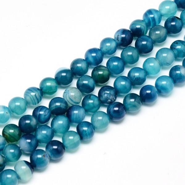 Achat Perlenstrang glänzend und poliert dunkelcyan gefärbt 8 mm (ca. 48 perlen/ ca. 38 mm)