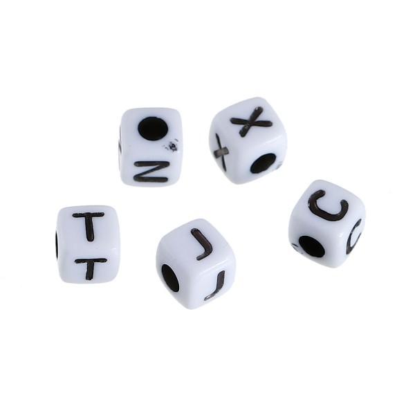 100 Buchstaben Perlen eckig quadratisch Buchstaben von A - Z gemischt 5 x 5 mm