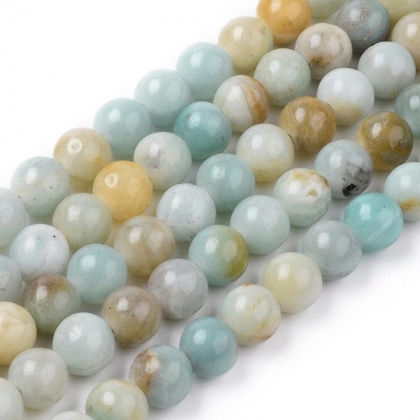 Natürlicher Amazonit Perlenstrang rund glatt 8 mm (ca. 48 Perlen / ca. 37,5 cm Länge)
