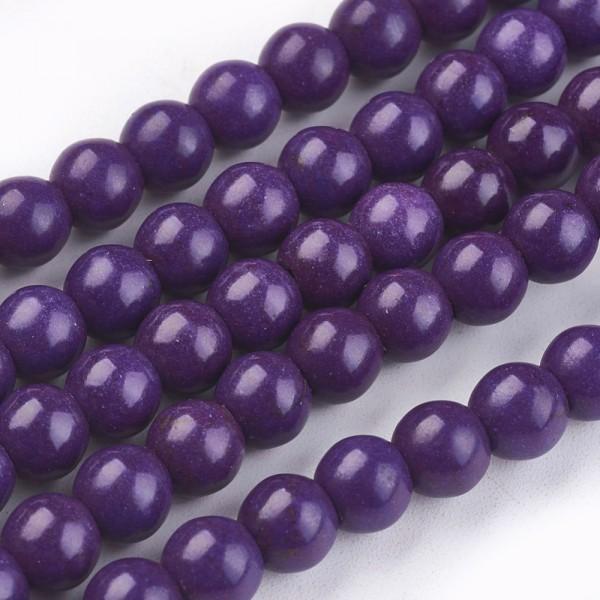 Gefärbter Kunsttürkis Perlenstrang rund glänzend indigo 6 mm (ca. 67 perlen / ca. 38 cm Länge)