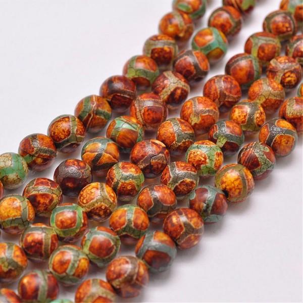 6 tibetische natürliche Achat Perlen rund mit grünem Muster 8 mm