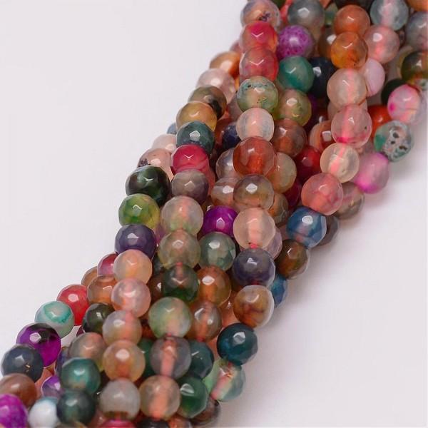 Facettierter Achatperlenstrang gefärbt bunt 6 mm (ca. 64 Perlen / ca. 36,5 cm Länge)