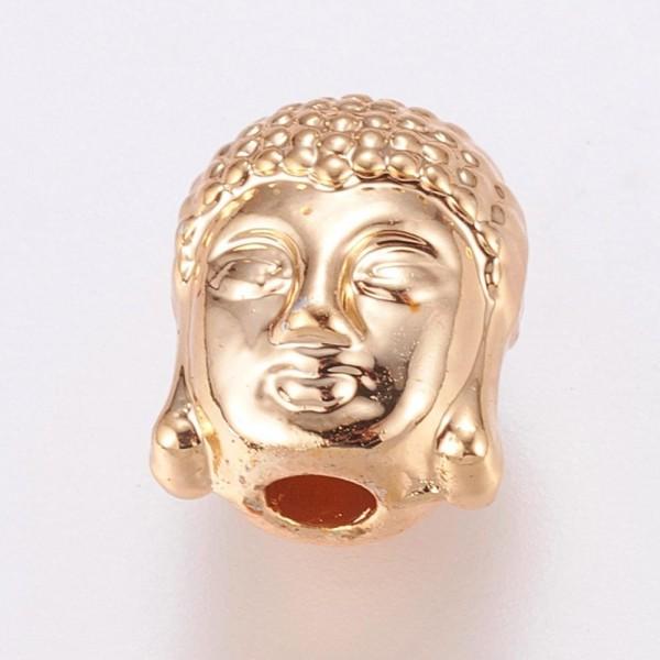 Tibetische Perle Buddha Kopf echt vergoldet 10 x 8 5 x 8 mm
