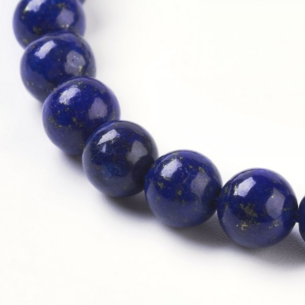 50 Lapislazuli Perlen blau rund glatt glänzend 6 mm