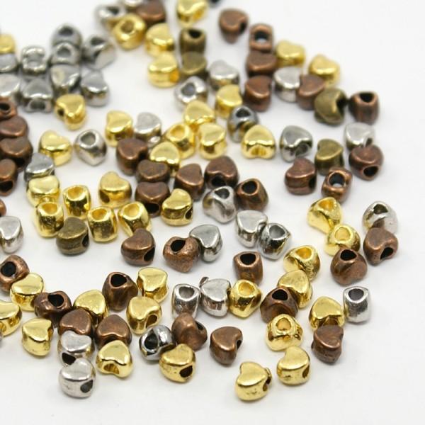 30 Zwischenperlen Spacer Herz silber bronze goldfarben 3,5 x 4 x 3 mm
