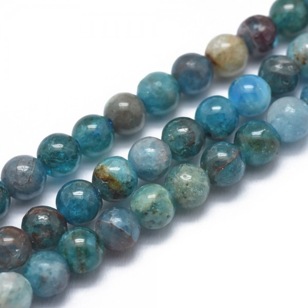 Natürlicher Apatit Perlenstrang Klasse AB rund glatt 6 mm (ca. 65 Perlen / ca. 40 cm Länge)