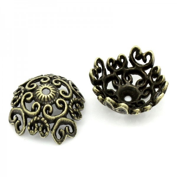 10 filigrane Perlkappen bronzefarben