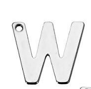 Buchstaben Anhänger Edelstahl Charm Buchstabe W