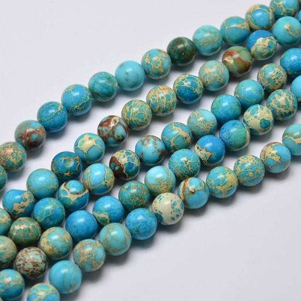Natürlicher Regalit Kaiser Jaspis Perlenstrang 6 mm (ca. 62 Perlen / ca. 40 cm Länge)