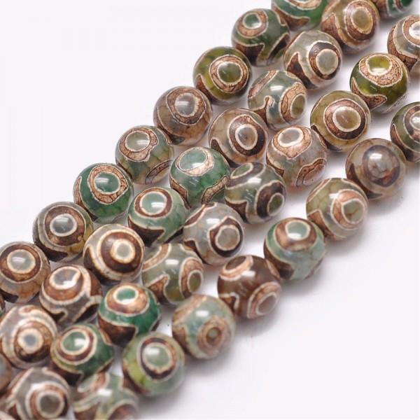 5 natürliche tibetische Achat Perlen rund dunkelgrün 8 mm