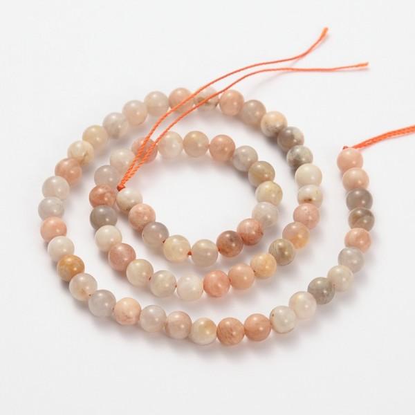 20 Mondstein Perlen rund glatt 5,5 mm - 6 mm