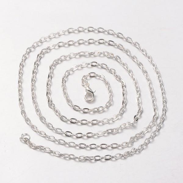 Halskette aus Eisen silberfarben mit Karabinerverschluß 80 cm