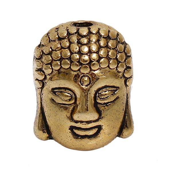 Metallperle Buddha antik goldfarben