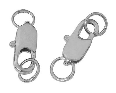 3 formschöne Metall Karabinerverschlüsse mit Biegeringen platinfarben 22 x 6, 5 x 2,5 mm