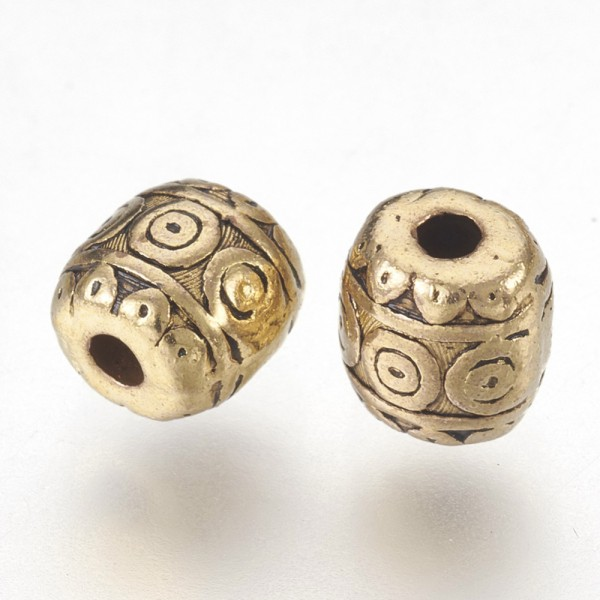 10 Tibetische Perlen antik goldfarben 6 x 6 mm
