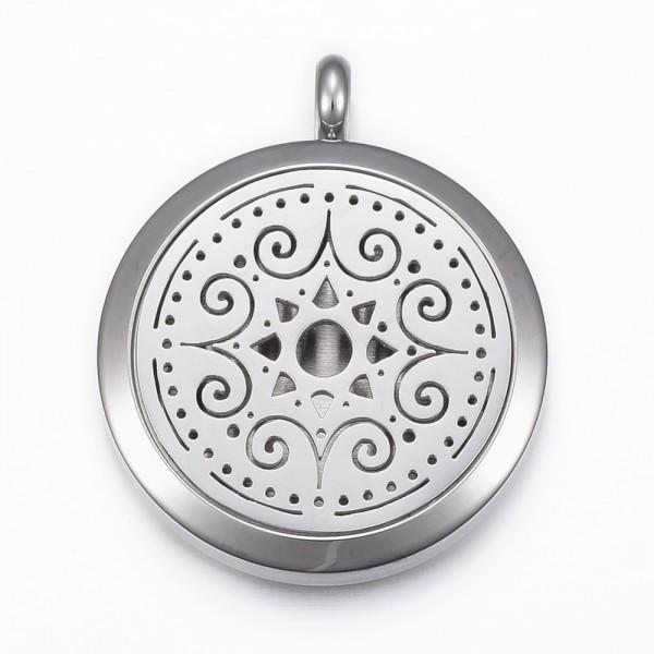 Edelstahl Medaillon mit Magnetverschluss zum öffnen rund flach mit Blume und Pad für Parfüm
