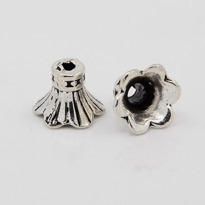 10 Perlen Kappen aus Metall Blume Blütenblatt Elfenhut antik silberfarben 11,5 x 9 mm