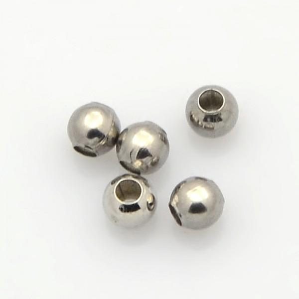20 Edelstahl Perlen Zwischenperlen Spacer 3 mm