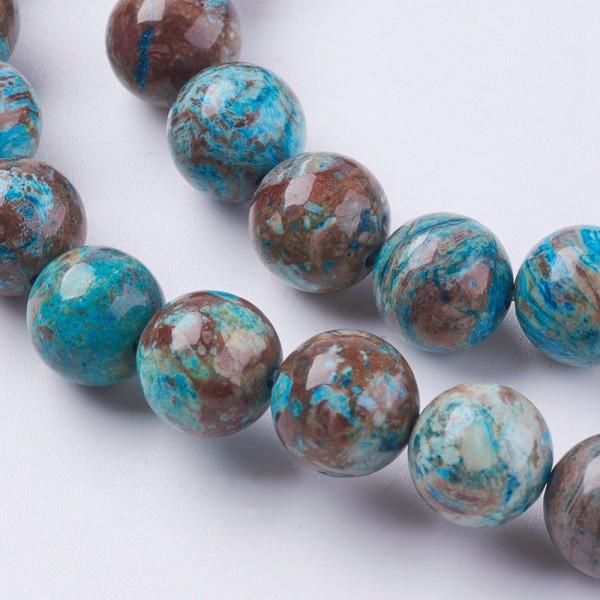 Natürlicher Chrysokoll Perlenstrang rund glatt 6 mm (ca. 66 Perlen / ca. 37 cm Länge)