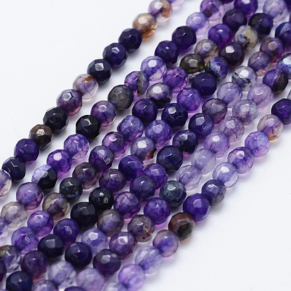 Natürlicher Crackle Achat Perlenstrang facettiert gefärbt indigo 4 mm (ca. 90 Perlen / ca. 37 cm Län