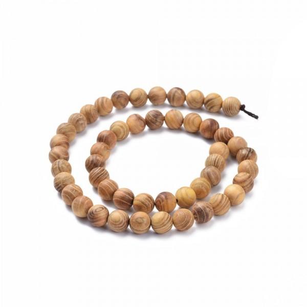 Natürlicher Holzperlenstrang rund glatt leicht glänzend 6 mm (ca. 64 Perlen / ca. 40 cm Länge)