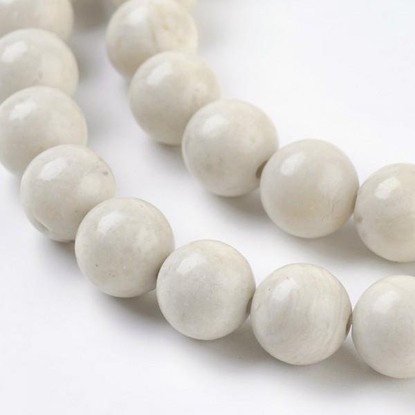 50 natürliche fossile Perlen glatt glänzend naturfarben 8 mm