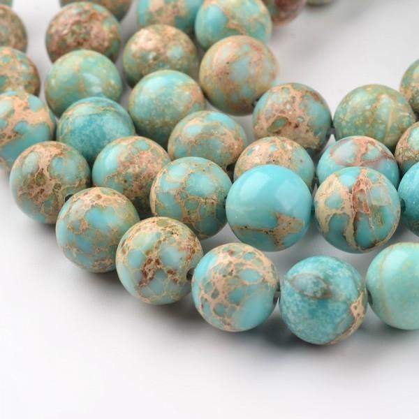Natürlicher Regalit Kaiser Jaspis rund glatt hellblau 6 mm (ca. 62 Perlen / ca. 38,5 cm Länge)