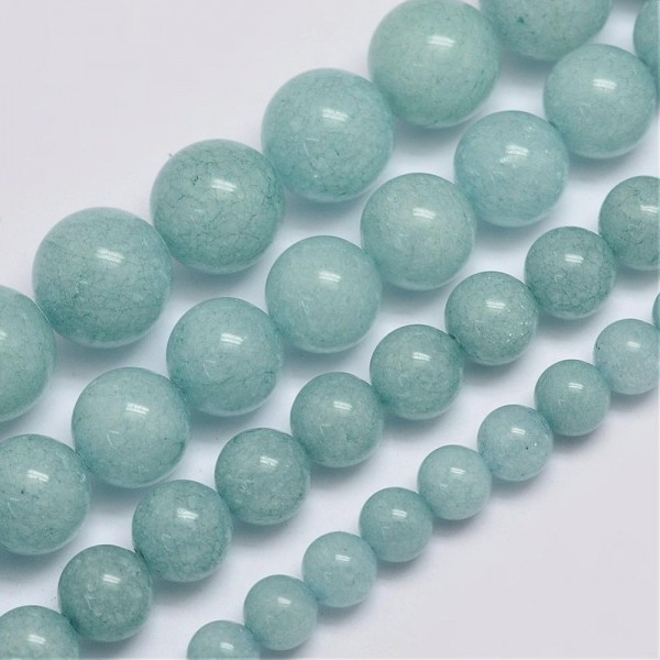 Malaysia Jadeperlenstrang glatt glänzend aquamarin 6 mm (ca. 64 Perlen / ca. 39 cm Länge)