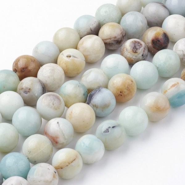 Natürlicher Amazonit Perlenstrang rund glatt glänzend 8 - 8,5 mm (ca. 45 Perlen / ca. 38 cm Länge)