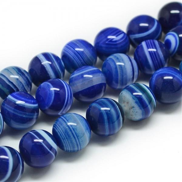 50 natürliche gestreifte Bandachatperlen rund glatt glänzend 6 mm blau