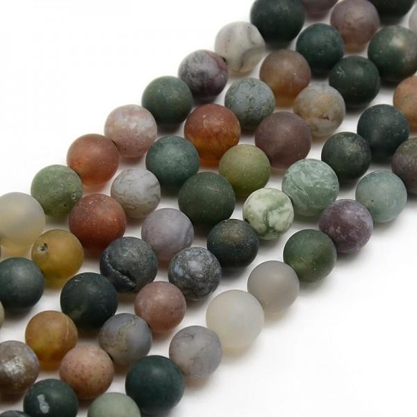 Natürliche matte indische Achatperlen rund 6 mm (ca. 63 Perlen / ca. 39 cm Länge)