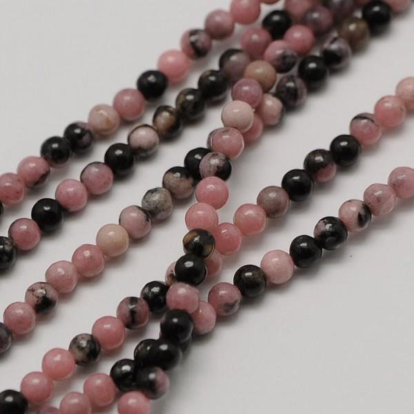 Natürlicher zierlicher Rhodonit Perlenstrang rund glatt 3 mm (ca. 126 Perlen / ca. 40,5 cm Länge)