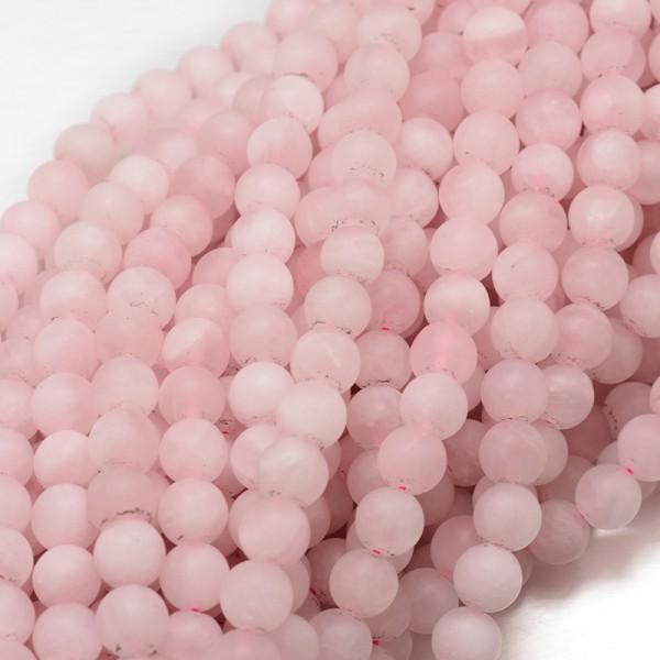 Natürlicher gefrosteter Rosenquarz Perlenstrang rund 6 mm (ca. 65 Perlen / ca.40 cm Länge)