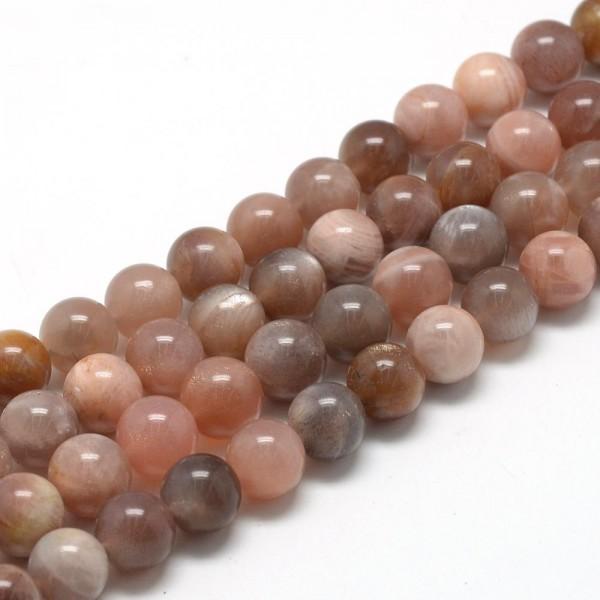 Natürlicher Sonnenstein Perlenstrang rund glatt glänzend 6 - 7 mm (ca. 60 Perlen / ca. 40 cm Länge)