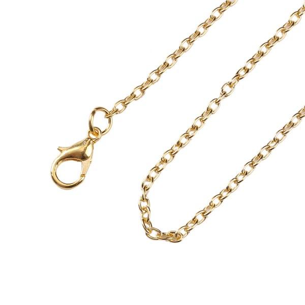 Kreuzkette Halskette Metalllegierung vergoldet 45,7 cm Länge mit Karabinerverschluß