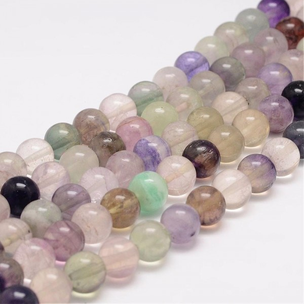 Natürlicher Regenbogen Fluorit klar 8 mm (ca. 48 Perlen / ca. 39 cm Länge)