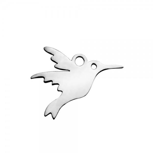 2 Edelstahl Charm Anhänger Vogel