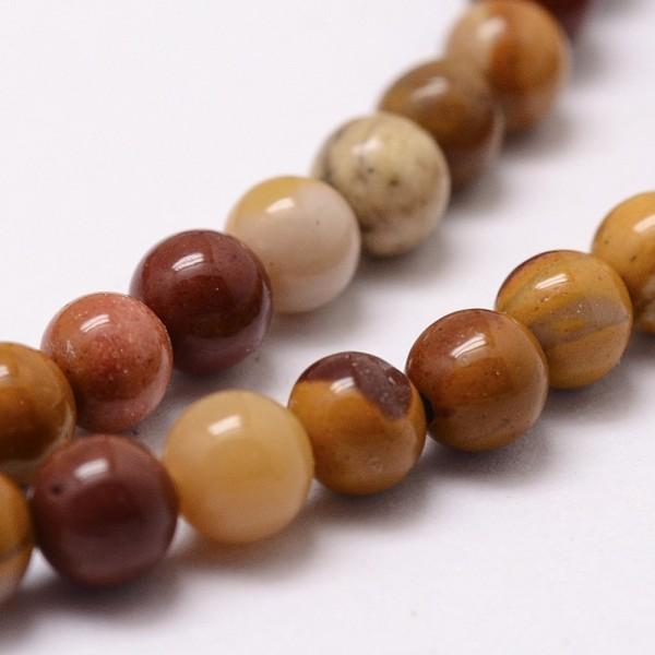Natürlicher Mookait Perlenstrang rund glatt glänzend 8 mm (ca. 49 Perlen / ca. 40 cm Länge)