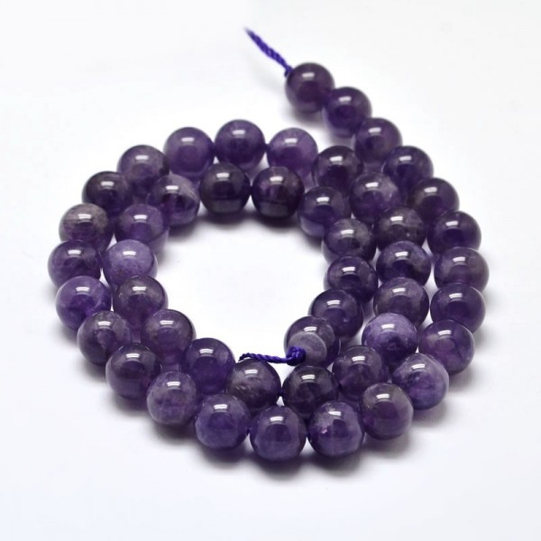 Natürlicher Amethyst Perlenstrang rund glatt glänzend 6 mm (ca. 63 Perlen / ca. 41 cm Länge)