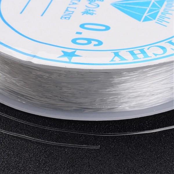 1 Rolle klare elastische dehnbare Kristall Perlenschnur 0,6 mm Länge Rolle: 10 Meter