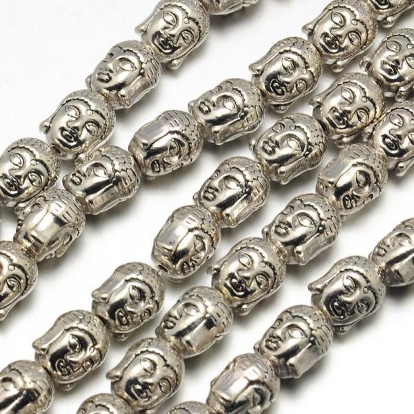 2 Buddha Perlen silberfarben