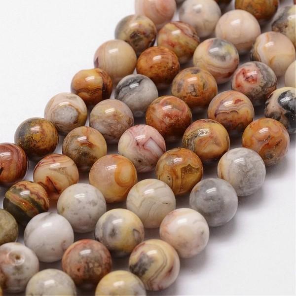 Natürlicher Achatperlenstrang warme Naturtöne rund glatt glänzend 6 mm (ca. 62 Perlen / ca. 38 cm Lä