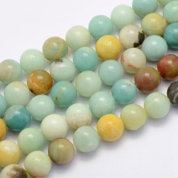 Natur Amazonit Perlenstrang rund glänzend 8 - 8,5 mm (ca. 47 Perlen / ca. 39,5 cm Länge)