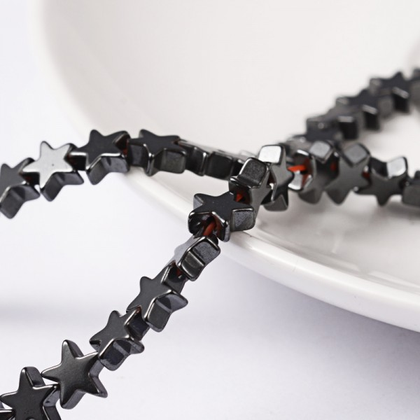 Synthetischer unmagnetischer Hämatit Perlenstrang Stern 6 mm ( ca. 87 Perlen / ca. 41 cm Länge)