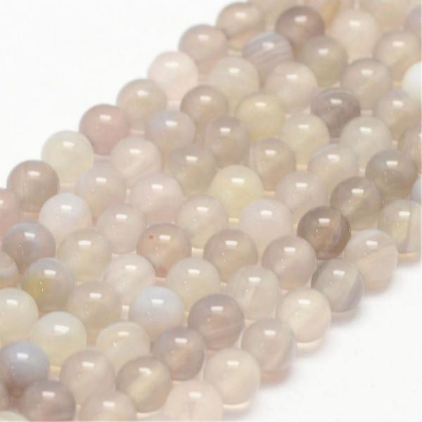 Achat Perlen Strang rund hellgrau glänzend 6 mm Klasse A (ca. 62 Perlen / ca. 39 cm Länge)
