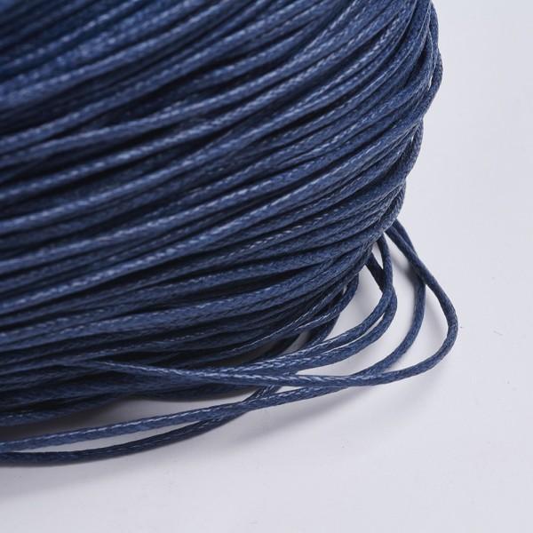 5 Meter gewachste Baumwollschnur blau 1 mm