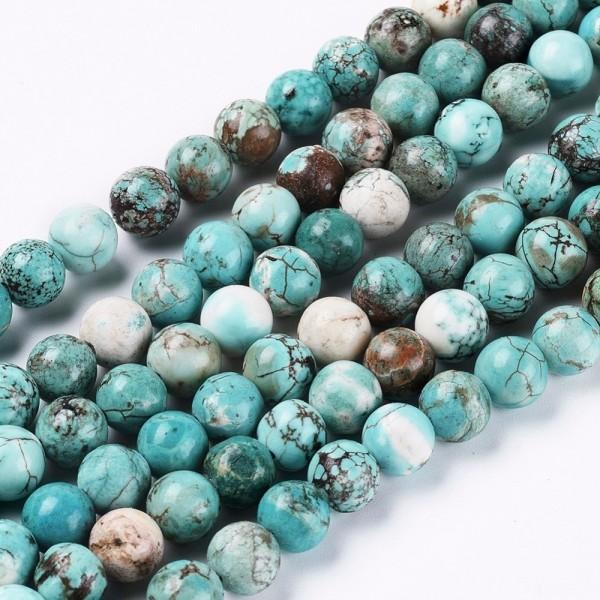 Natürlicher Türkis Perlenstrang rund glatt glänzend 8 mm (ca. 46 Perlen / ca. 40 cm Länge)