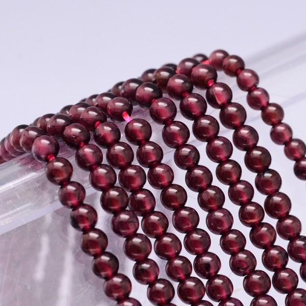 Natürlicher Granatperlenstrang Klasse A rund 3 mm (ca. 120 Perlen / ca. 39 cm Länge)